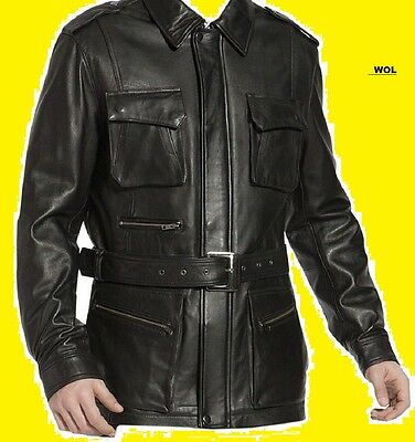 Men's German Black Naval Military Style Genuine Leather Jacket/Coat