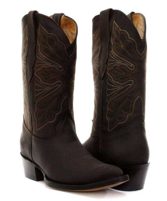 Grandes zapatos con descuento Grinders Dallas Brown Ladies Cowboy Western Mid Calf Toe Classic Leather Boots