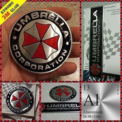 UMBRELLA CORPORATION 3D Round Rectangle Aluminium sticker logo decal adhesive 3M