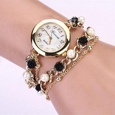 Women Geneva Pearl Black Flower Chain Bracelet Wrist Analog Quartz Dial Watch