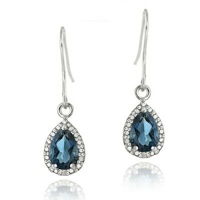 925 Silver 3ct London Blue Topaz & Diamond Dangle Earrings