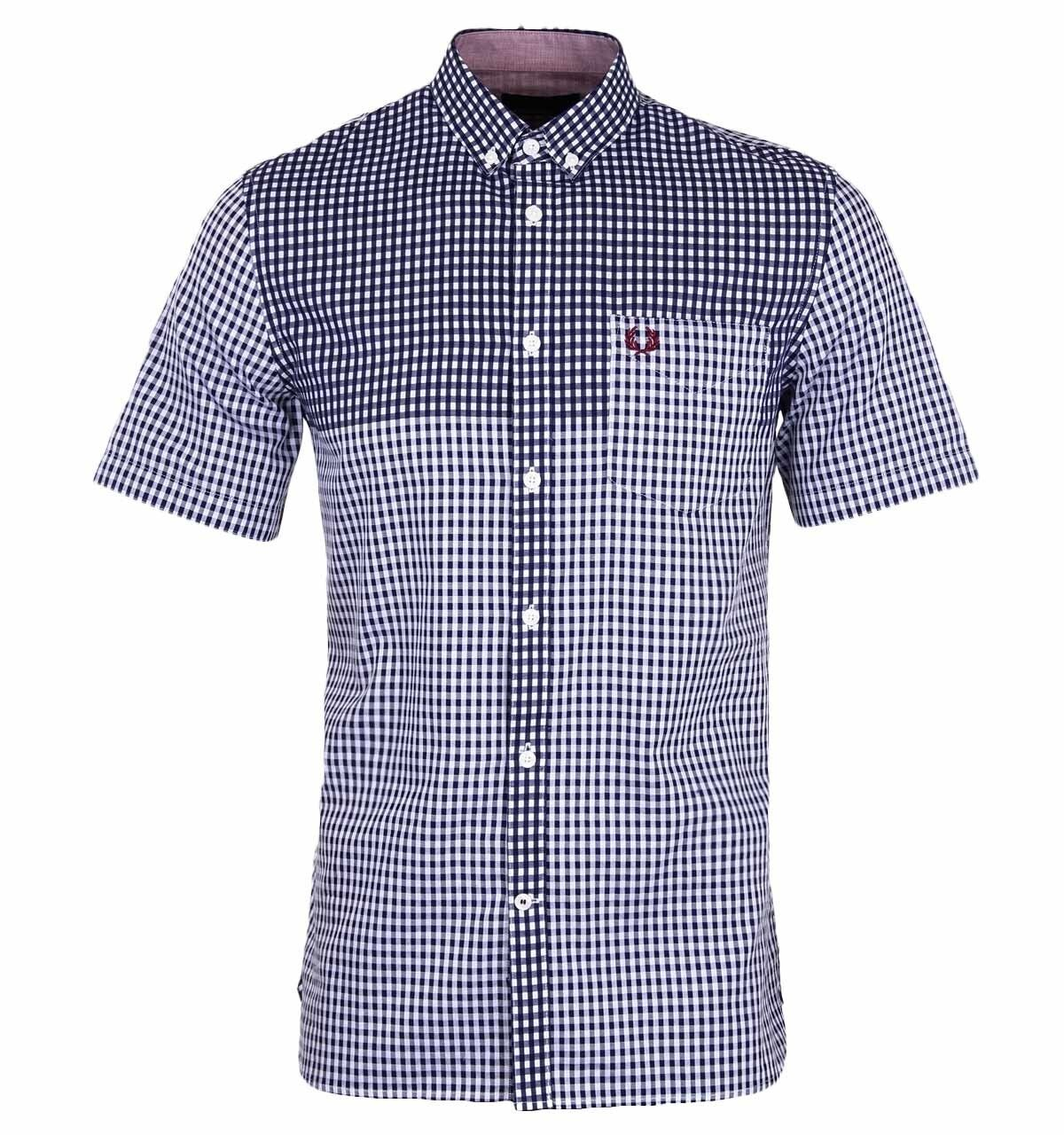 Fred Perry Double Side Gingham Shirt Mid Imperial Sizes  S