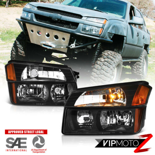 4PC Black Clear Headlight Bumber Lamp 02-06 Chevy Avalanche Body Cladding Model