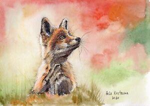 Little-Fox-original-watercolor-wild-animal-painting-pet-dog-cub-kitten-art