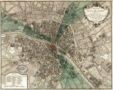 FRANCE MAP ART PRINT Plan de la Ville de Paris 1715 Vintage French Poster 37x25