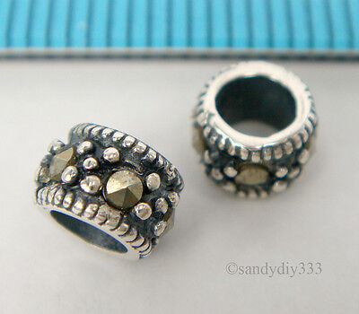 2x ANTIQUE STERLING SILVER MARCASITE STONE RONDELLE SPACER BEAD 5.4mm #1822A