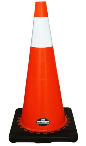 """28/"""" RK Orange Safety Traffic PVC Cones Black Base with One Reflective Collar"""
