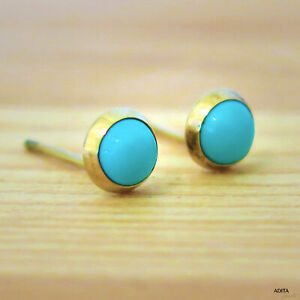 14K-Solid-Yellow-Gold-Round-4mm-Turquoise-Stud-Earrings-Holiday-Sale
