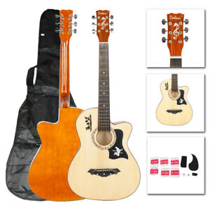 New-Wood-DK-38C-Basswood-Acoustic-Guitar-Bag-String-Pick-Tuner-Accessories