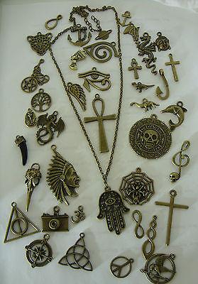 "A Bronze Tone 20"" Long chain with BRONZE Charm Pendant Necklace, Surf Festival"