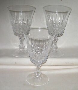 #77 Dalton French Lead Crystal Wine Glasses Verite Pattern Set of (3)