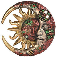 Mosaic Crescent Moon Sun Wall Plaque 8in Living Room Decor Red Accent Sculpture