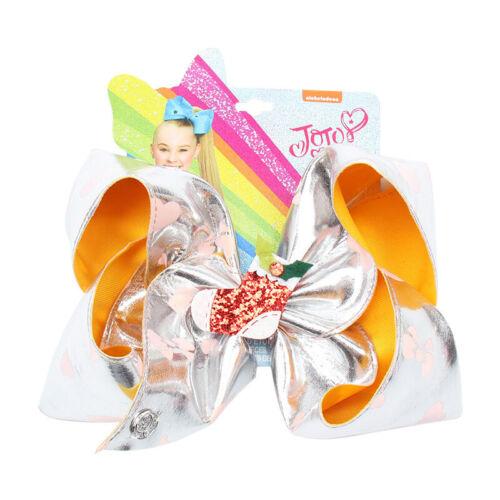 8inch JOJO SIWA BOW Christmas Hair Bow With Crocodile Clip Girl Kids Bowknot-New