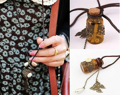 Vintage Mini Wish Bottle Flower Butterfly Pendant Sweater Chain Necklace Gift