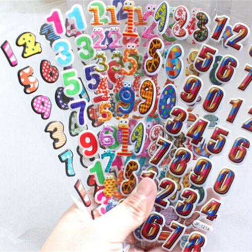 5X 3D Bubble Stickers Party Supplies Decoration Kids Gift Number Letters Toys ZN