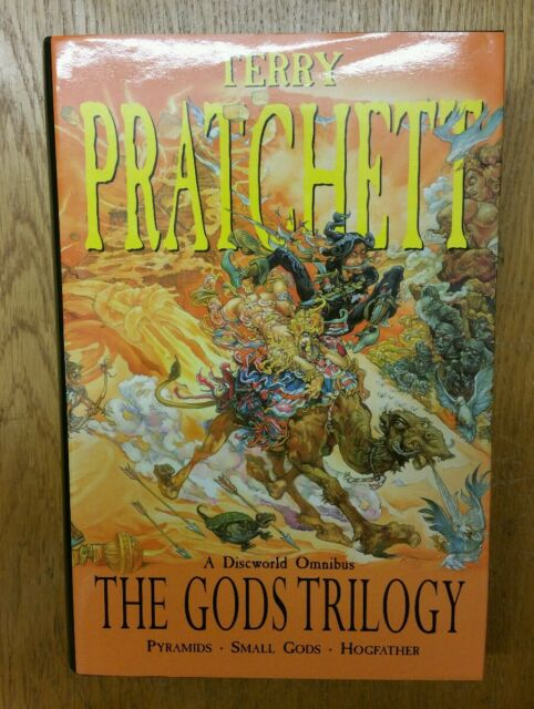Terry Pratchett Gods Trilogy Discworld HB Book Pyramids, Small Gods, Hogfather