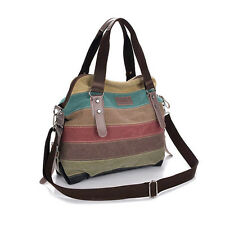 Fashion Women Stripe Canvas Handbags Shoulder Bags Contrast Color Crossbody Bag