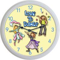 Love To Dance Clock Jazz Ballet Hip-hop Modern Dance Studio Dancing 10