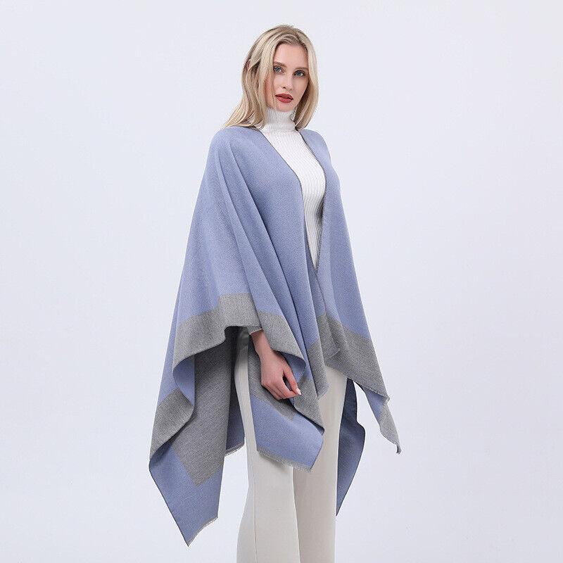Lady Stripe Knit Poncho Batwing Tassels Shawl Cape Pullover Sweater Cloak Casual