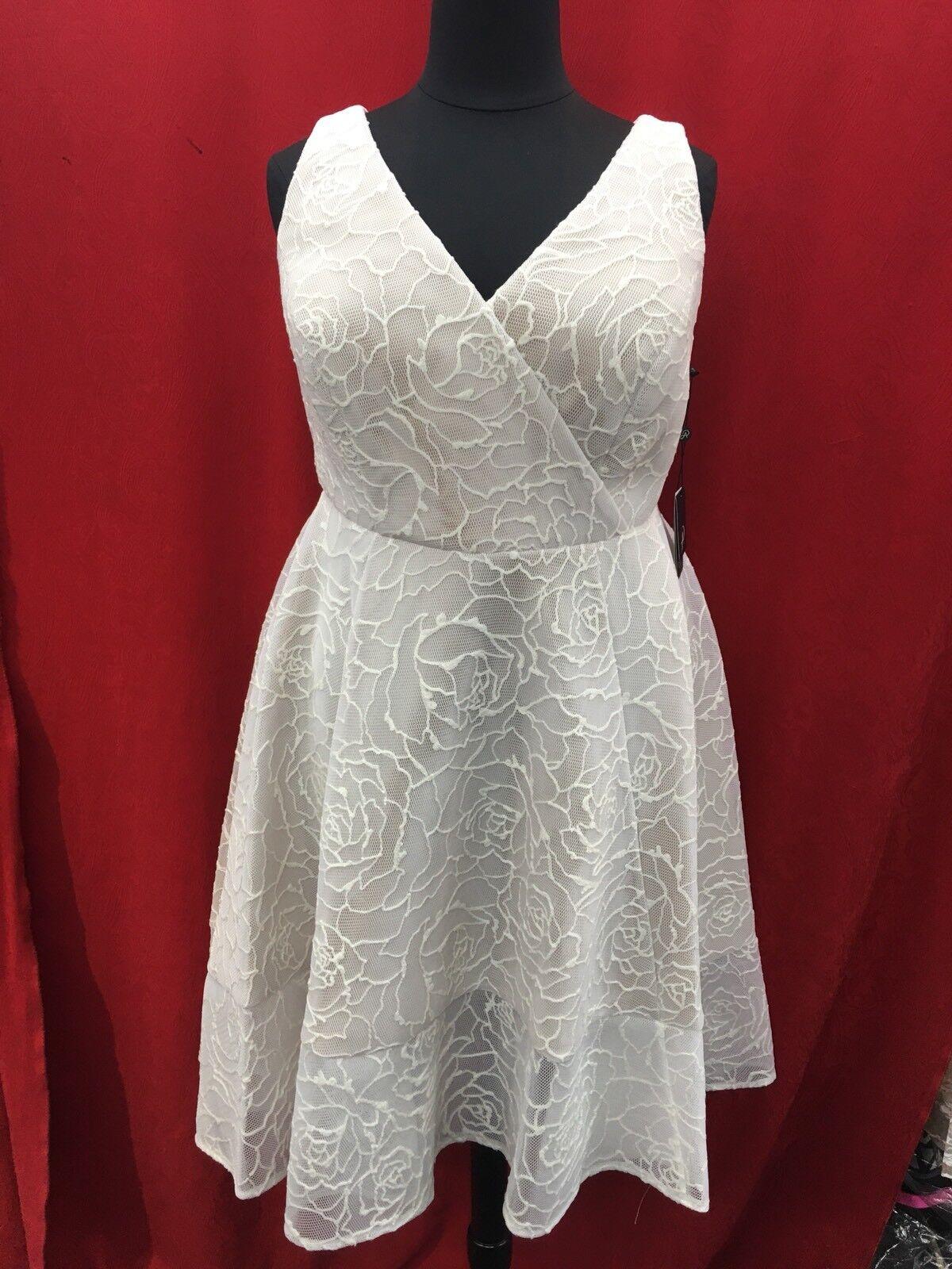 Adrianna Papell Kleid  Elfenbein Neu mit Etikett Größe 16W  Länge 44