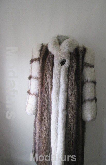 Women's Sz 8 10 PRISTINE Raccoon & Fox Fur Coat Women Ladies