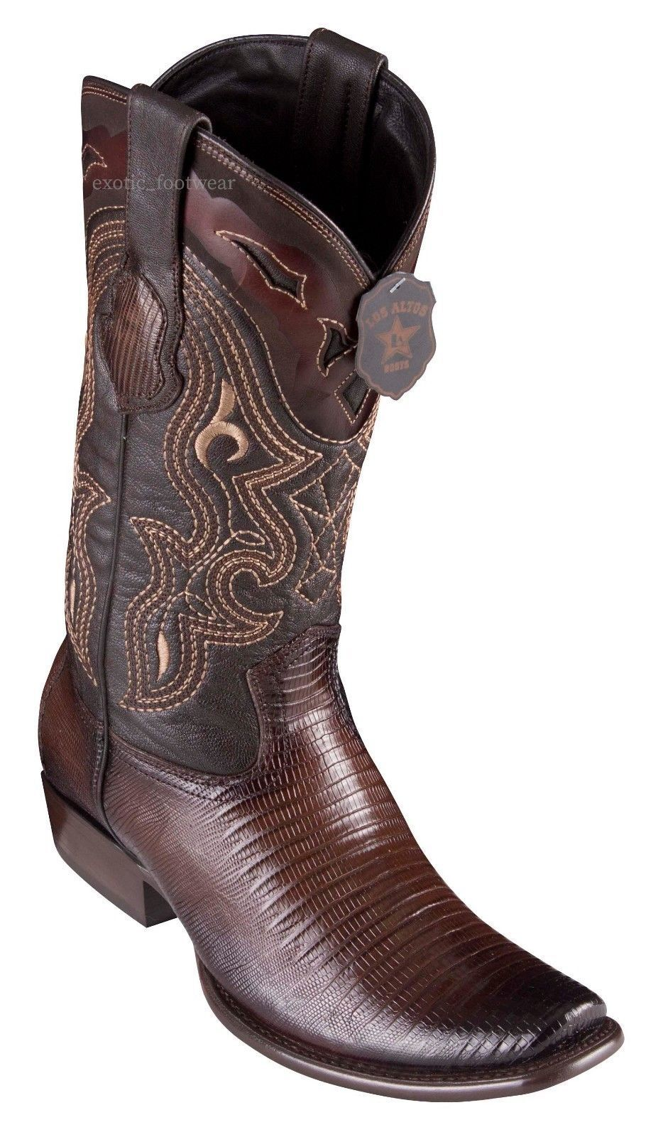 King Exotic BROWN Genuine TEJU LIZARD Western Boot Dubai Square Toe D