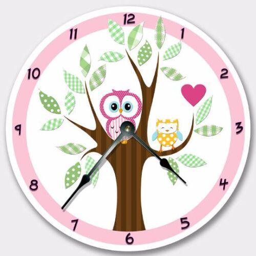 Wall Clock PINK MOD OWL Nursery Art Baby Toddler Girl Custom Room Decor 7192/_FT