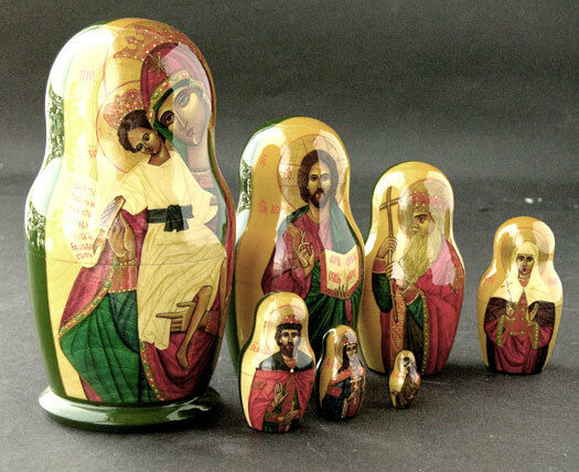 Signed RUSSIAN NESTING Wooden DOLLS Set Seven HAND-PAINTED Collectible ART 1998