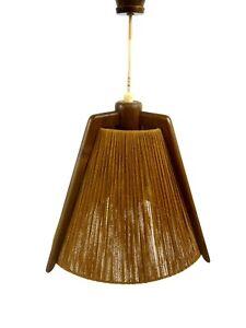 ORIGINAL-MID-CENTURY-VINTAGE-TIKI-TEAK-CHANDELIER-CEILING-LAMP-50s