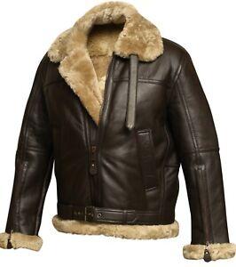 78ef86955 Details about RAF Aviator Brown Bomber Real Shearling Real Sheepskin  Leather Flight Jacket