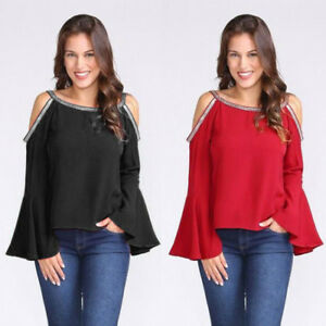 Ladies-Women-Casual-Blouse-Glitter-Cold-Shoulder-Flare-Long-Sleeve-T-shirt-Tops