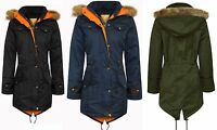 Childrens Kids Parka Quilted Jacket Girls Winter Coat Fur Hooded Trench Fishtail