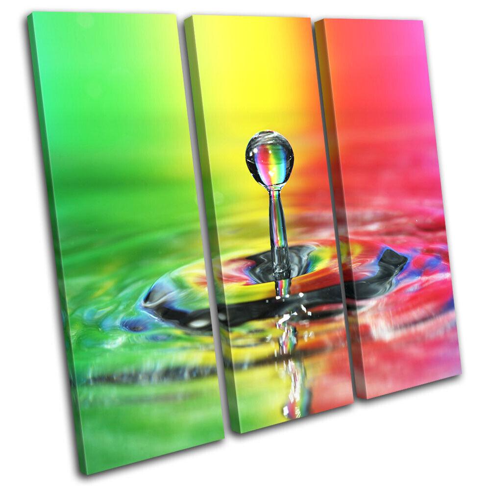 Rainbow Water Drops Droplet Abstract TREBLE Leinwand Kunst Bild drucken