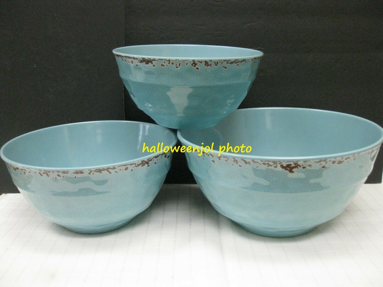 IL MULINO Aqua bluee MELAMINE SERVING Mixing Bowls Rustic NEW Set of 3