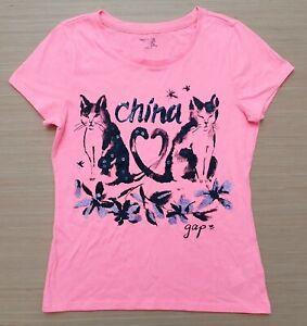 GAP Kids Girls Bright Peach Black China Logo Short Sleeved T Shirt 12 Years XL