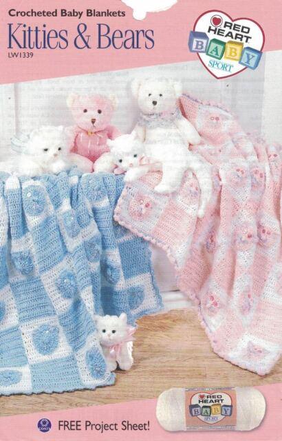 Crocheted Baby Blankets Kitties Bears Red Heart Project Sheet
