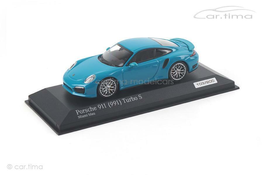 Porsche 911 (991) Turbo S - miami blau - 1 of 200 - Minichamps - car.tima EXCLUS