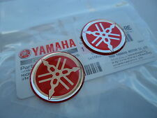 2 X YAMAHA GENUINE TANK & FAIRING BADGE GEL STICKER 30MM RED  ****UK STOCK****
