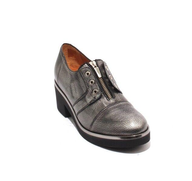 MOT-CLe 558 Antique Silver Black Leather Platform Zip Heel shoes 41   US 11