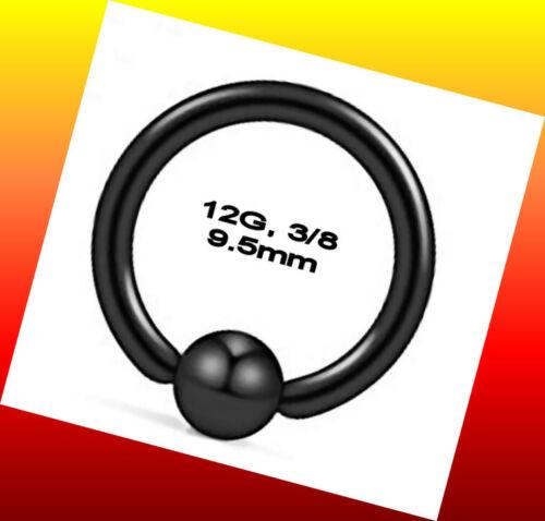 3//8  Captive Bead Ring Nose Septum Hoop Earring Nipple Li Titanium IP Black 12G