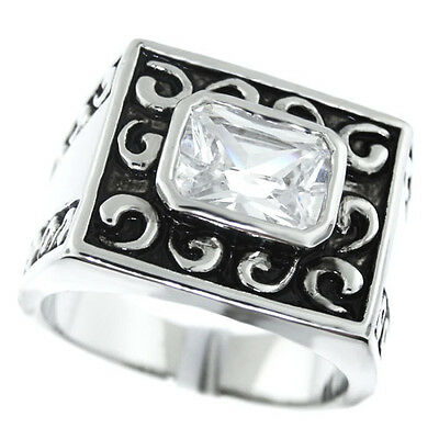 Rectangle Cut 1.88ct Classic Mens Silver Rhodium EP Fashion Ring Size 9