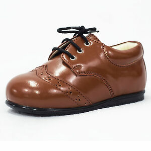 Baby Boys Brown Brogue Shoes Formal Smart Kids Lace Up Wedding Sizes