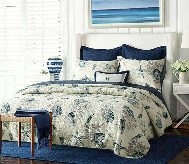 3pc. Nautical Bedspread Queen Size blueeeeee White Shell Starfish Oceab Coverlet Bed