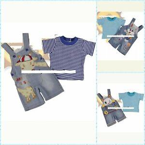 80 Set Baby Jeans kurz Latzhose mit Shirt Gr 74