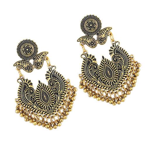 Traditional Ethnic Indian Earrings Flower Bead Tassel Gypsy Dangle Ear Studs