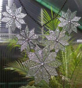 Bleiverglasung Fensterbild Suncatcher Schneestern- Set (5 teilig) in Tiffany