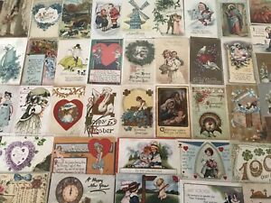 Lot-of-50-Antique-amp-Vintage-Holidays-amp-Greetings-Postcards-In-Sleeves-a532