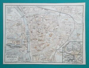 1936 Map Germany German Reich Wurzburg Bayreuth Passau City Town