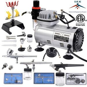 Complete airbrush kit air compressor 3 airbrush hobby auto for Car paint air compressor