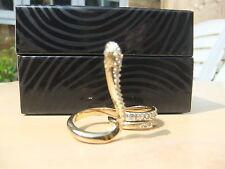 BRAND NEW JUST CAVALLI CRYSTAL GOLD SNAKE RING TWO FINGERS WITH CERTIFICATE